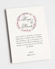 invitacion con flores otoñal de boda