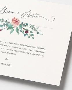 """Invitación de boda """"Eucalipto y rosas"""""""