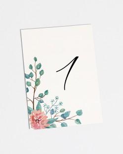 "Números de mesa ""Eucalipto y rosas"""