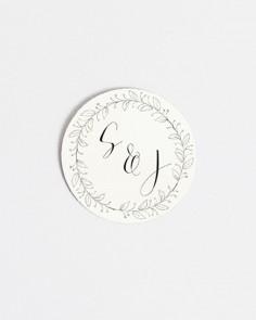 pegatina para bodas diseño postal iniciales