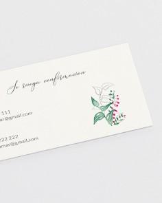 Detalle tarjeta de confirmación floral Hiedra y Brezo