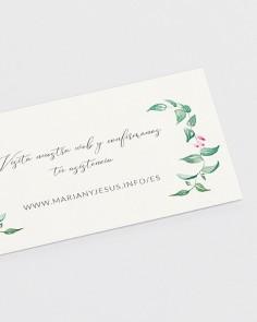 Detalle tarjeta web de boda floral Hiedra y Brezo