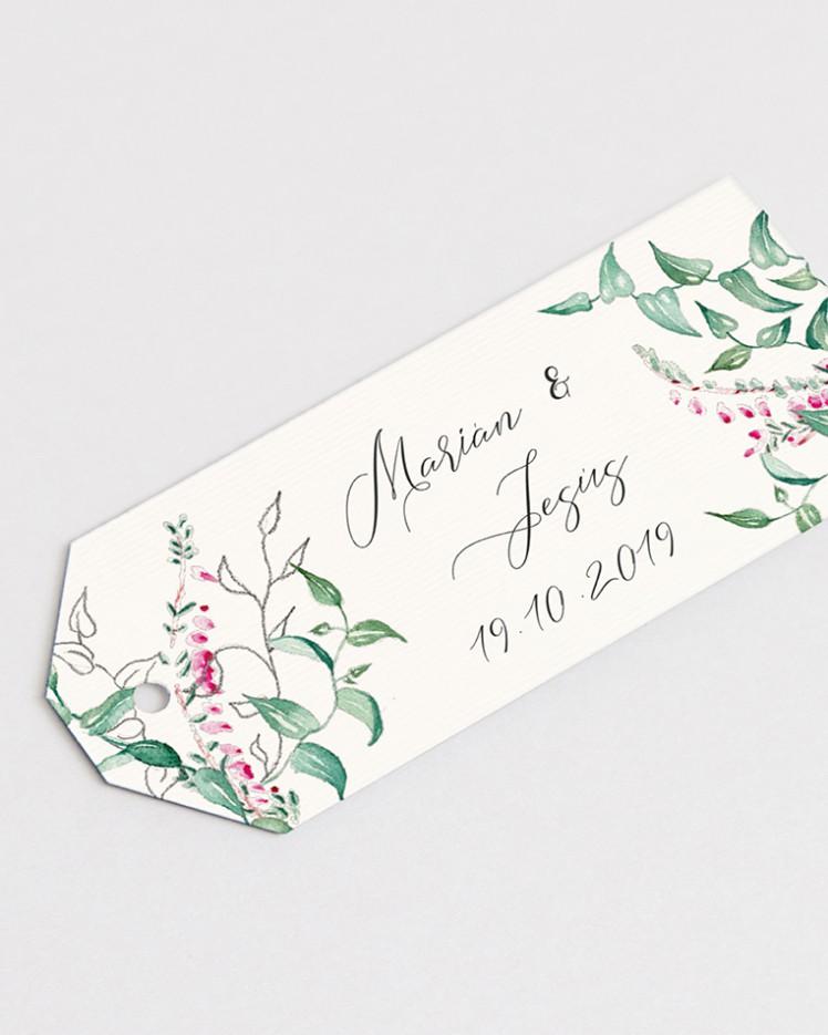 Etiquetas de boda Hiedra y Brezo