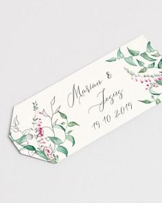 Detalle etiqueta de boda floral Hiedra y Brezo