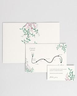 Invitación de boda Hiedra y Brezo (vertical)