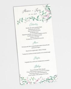 Minuta de boda floral Hiedra y Brezo