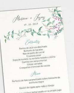 Minuta de boda Hiedra y Brezo