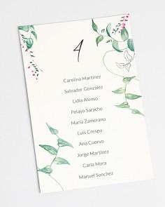 Seating plan de boda floral Hiedra y Brezo