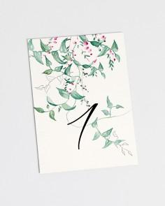 Números de mesa de boda floral Hiedra y Brezo