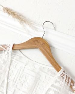 Percha Personalizada Bambú con Iniciales y Fecha Grabado