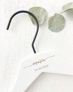 percha blanca nombre fecha boda