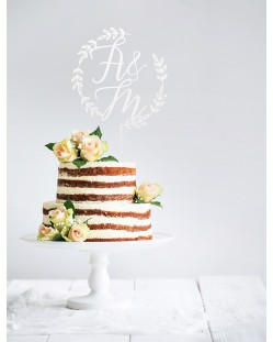 "Cake topper personalizado ""Corona iniciales"""