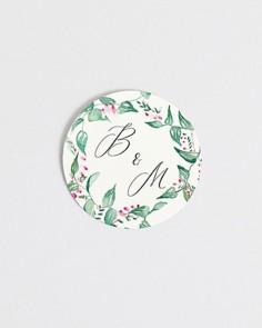 Pegatinas para boda circulares flores hiedra y brezo