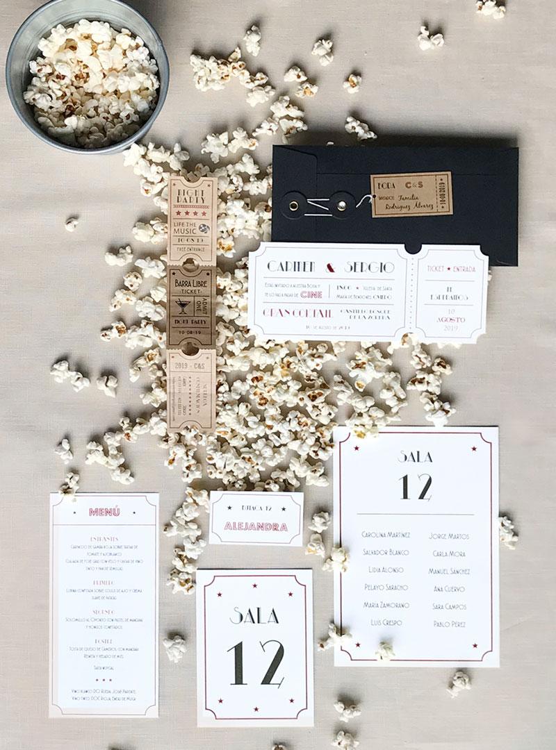 Invitaciones de boda cine
