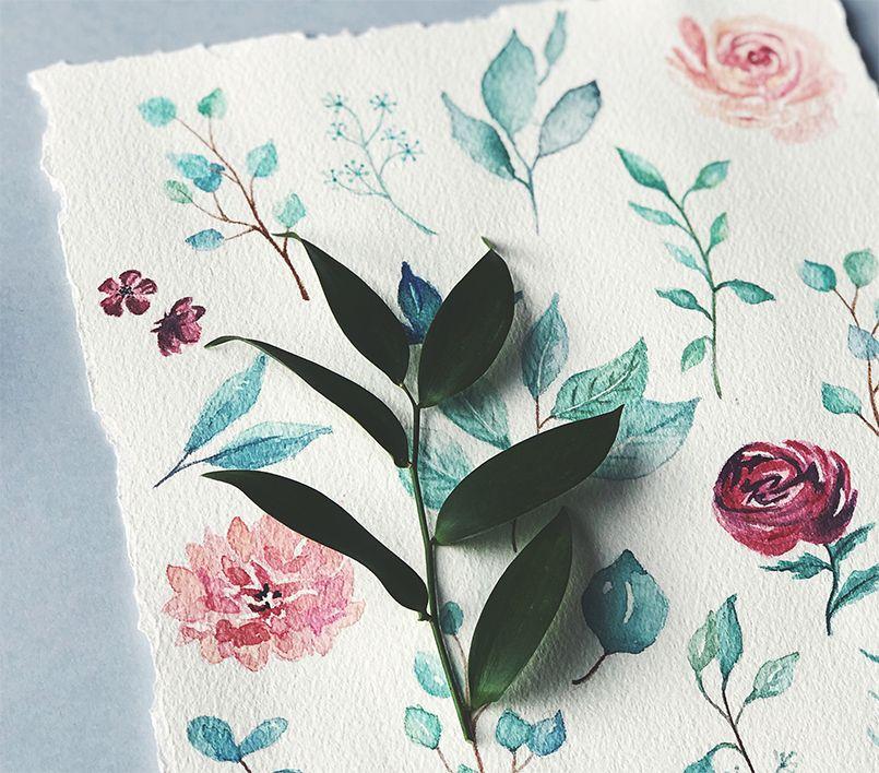 Acuarela Botánica Eucalipto y rosas Marmarina