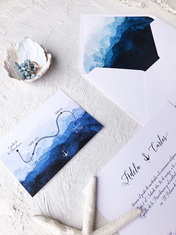 Boda Marina Invitación de boda agua Marmarina