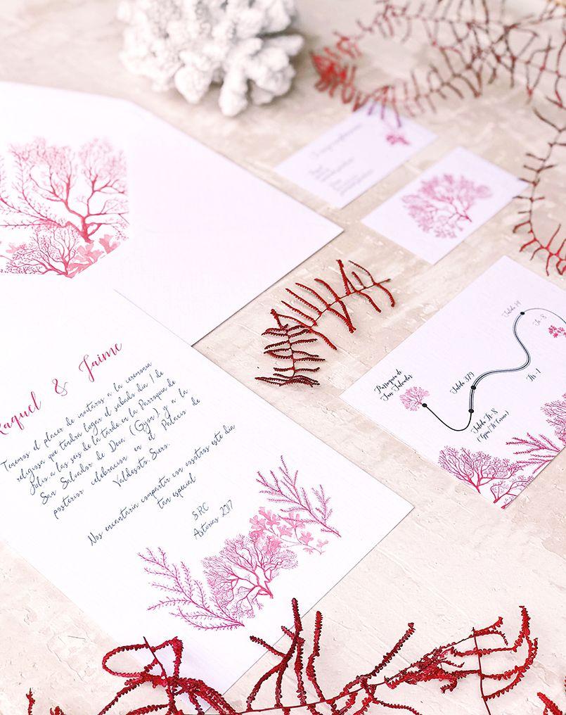 Boda Marina Invitación de boda arrecife Marmarina