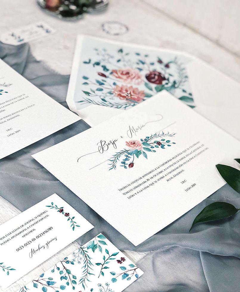 Invitaciones de Boda Botánicas Eucalipto y Rosas Marmarina