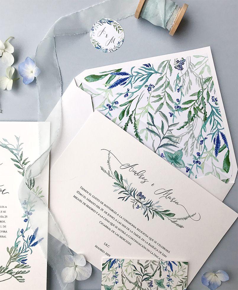 Invitación de boda Botánica Jacintos silvestres Marmarina