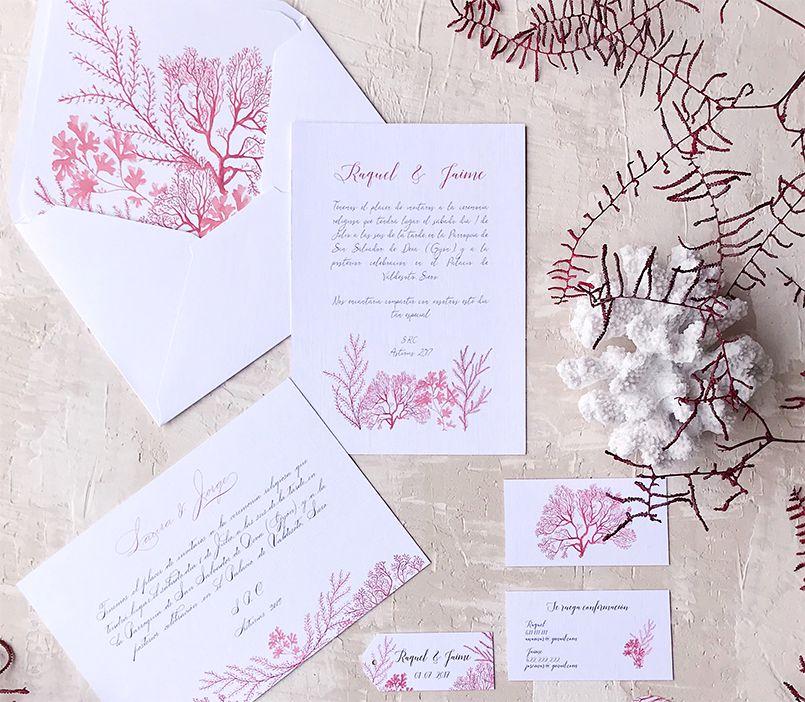 Invitaciones de boda Marineras Arrecife Coral Marmarina