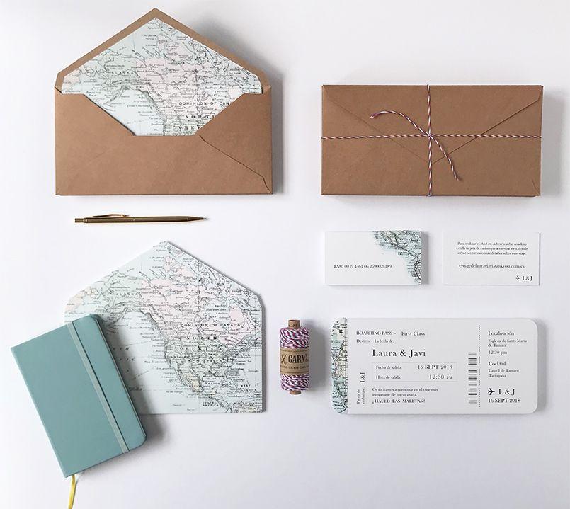 Invitación de boda Mapa y papelería complementaria Marmarina
