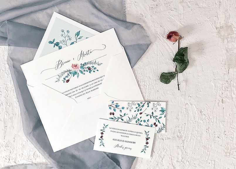 Invitación de boda Botánica en acuarela Marmarina