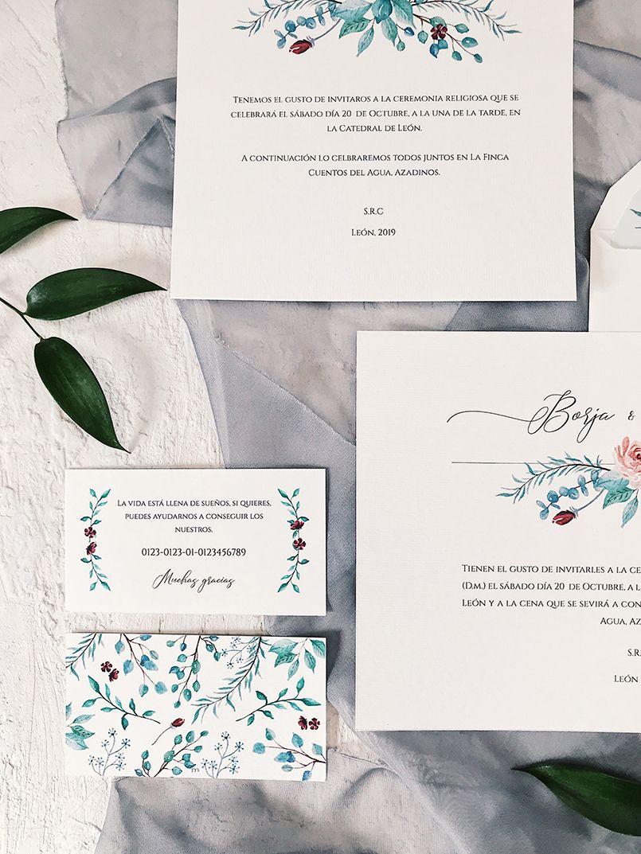 Invitaciones de boda creativas complementos en acuarela Marmarina