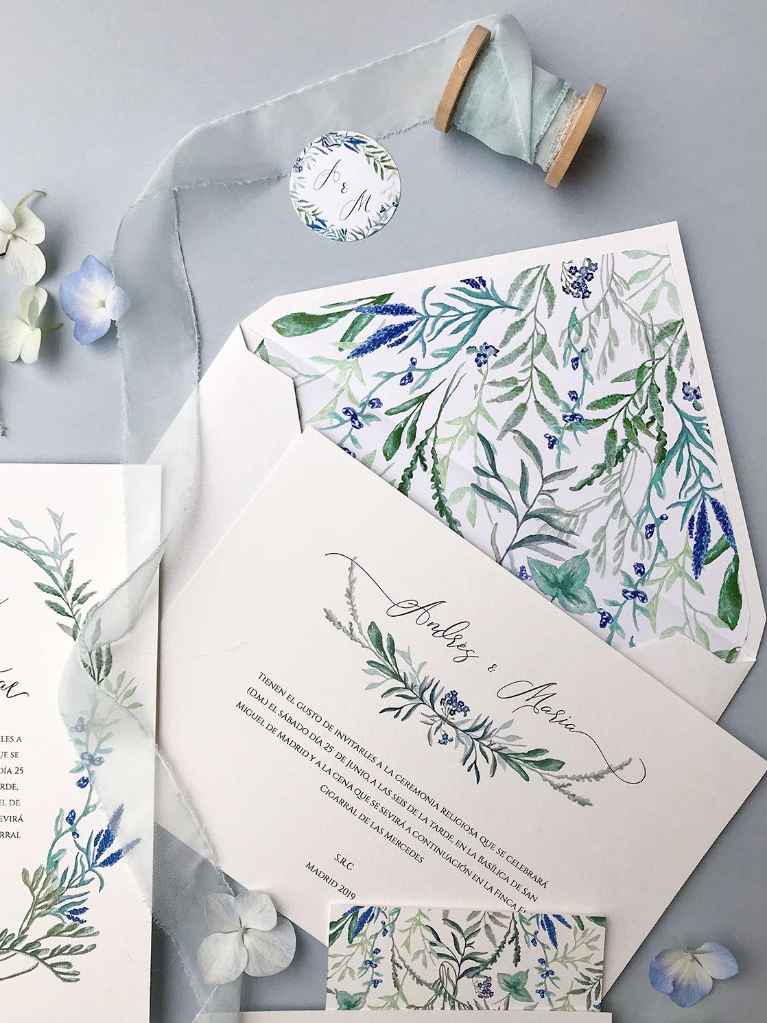 Invitaciones de boda exclusivas en acuarela Marmarina