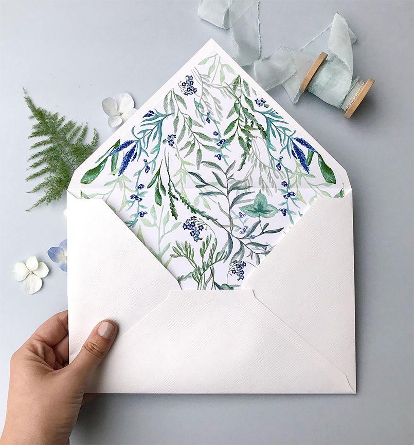 Sobre con forro jacintos silvestres colección botánica Marmarina